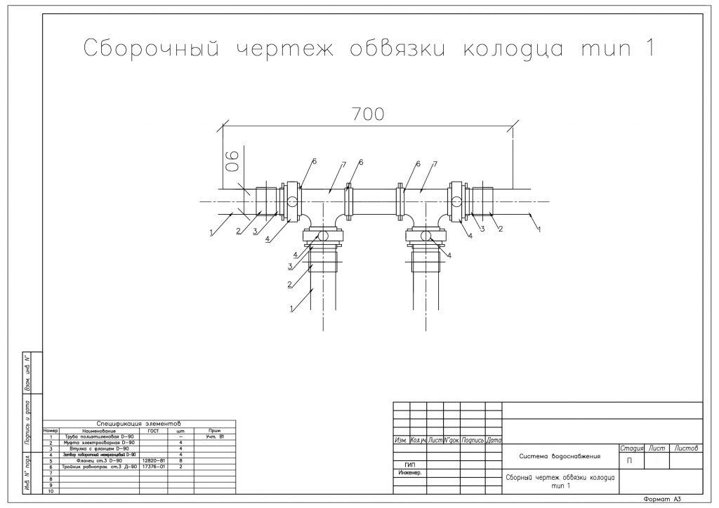 Сборочный чертеж обвязки колодца, тип 1